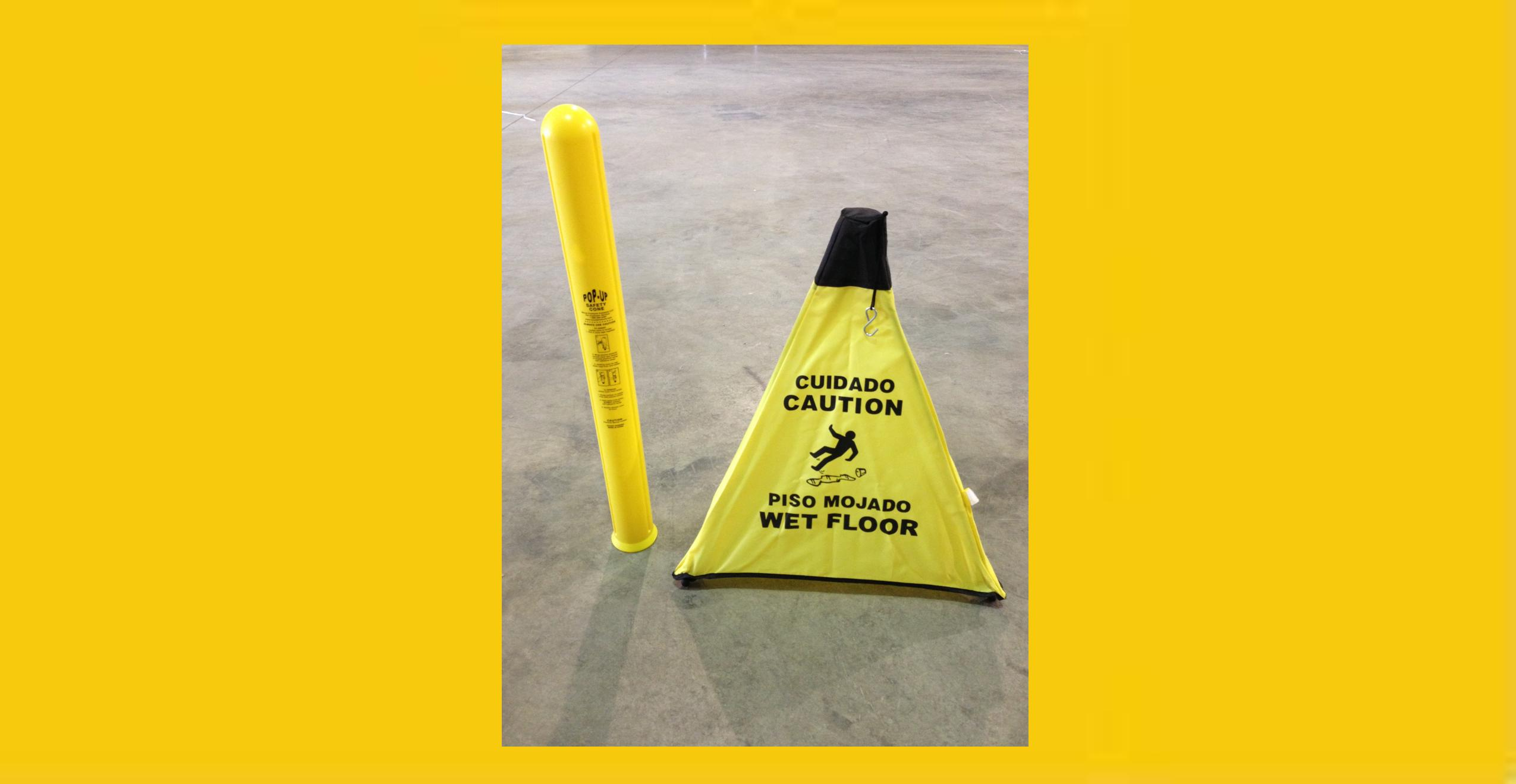 Pop Up Yellow Safety Cone With Tube Set